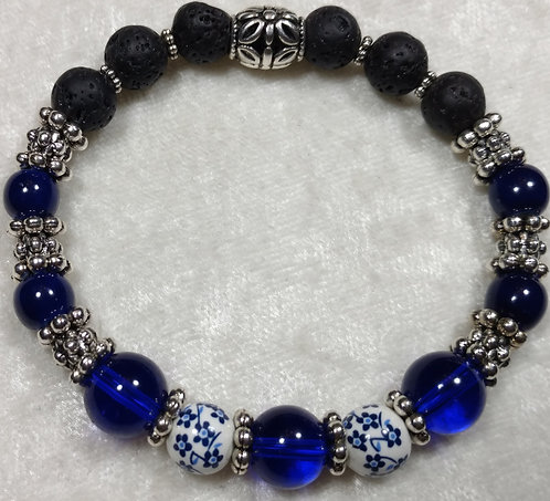 Dark Blue Chalcedony & Painted Ceramic Unscented