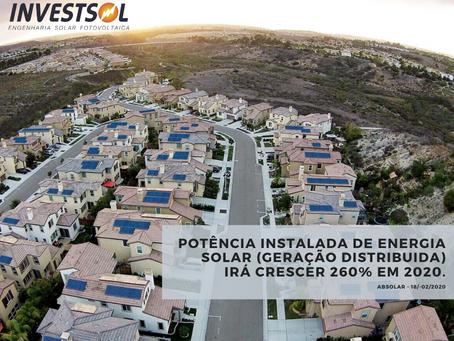 Brasil irá instalar 260% a mais de GD (fotovoltaica) que em 2019.