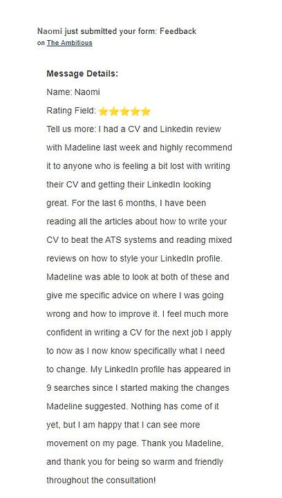 feedback from naomi job seekers helped by the ambitious.JPG
