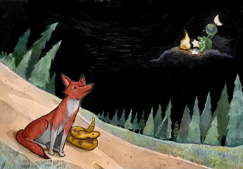 Coyote, the Trickster, spread