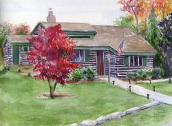 Log Cabin Painting