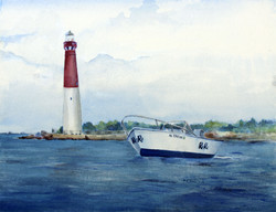 Barnegat Lighthouse with Boat