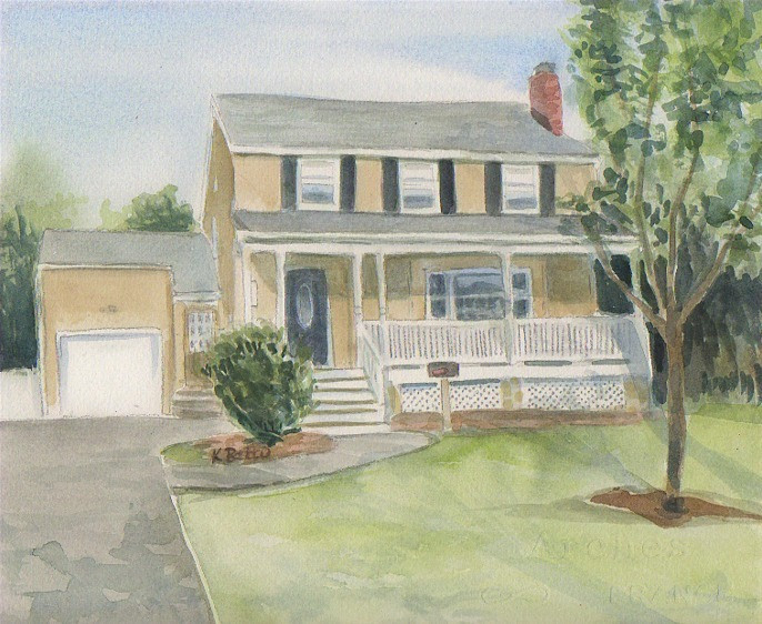 Watercolor House Rendering of a House with a Porch