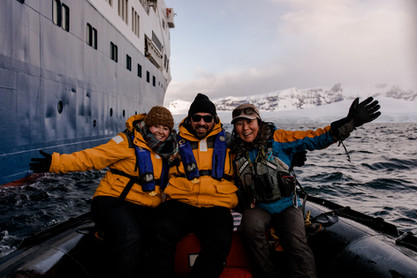Nick and I with our tour guide, Yukie, in Antartica on Nick's 30th birthday.