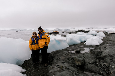 Standing next to some beached ice in Antarctica