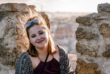 Windy portrait of me at a castle in Lisbon.
