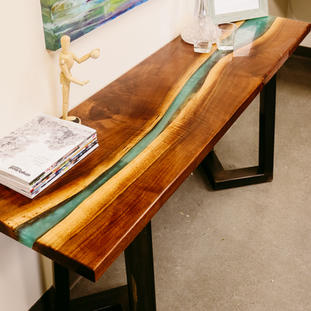 Epoxy, Wood and Steel Base Sofa Table - AVAILABLE