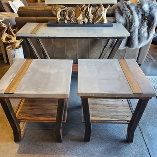Concrete Steel and Wood Table Set