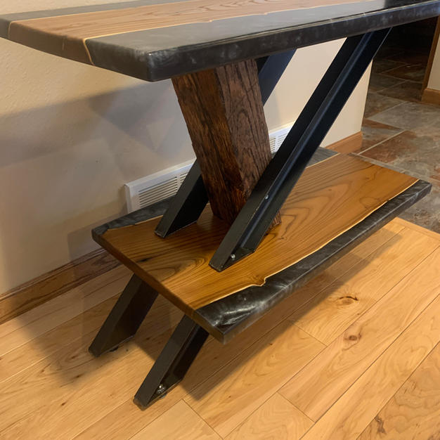 2-Tiered Black Epoxy, Wood and Steel Table