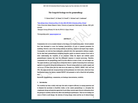 The Geopyörä breakage test for geometallurgy