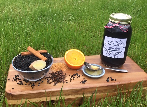 Unsweetened Orange Clove Elderberry Syrup (no added honey) -16 oz.