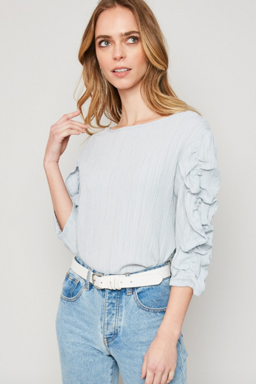 Ruched Sleeve Cloud Top