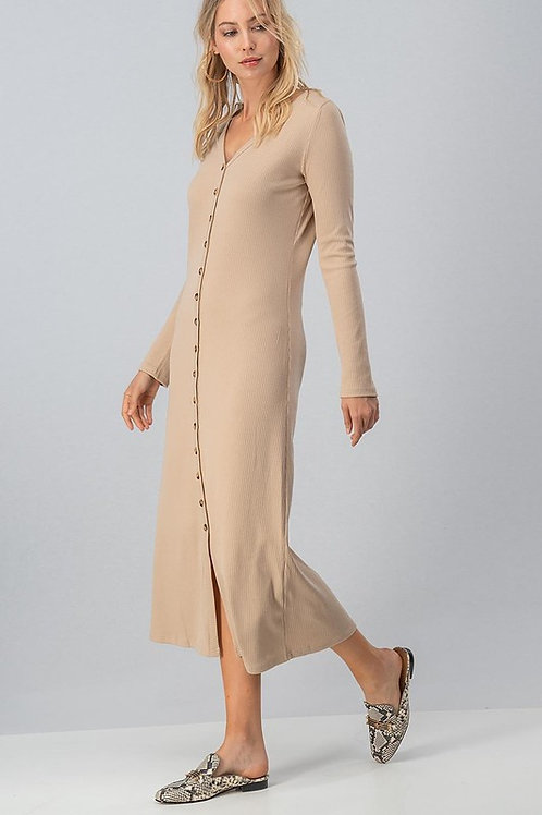 Button Down Ribbed Maxi Dress