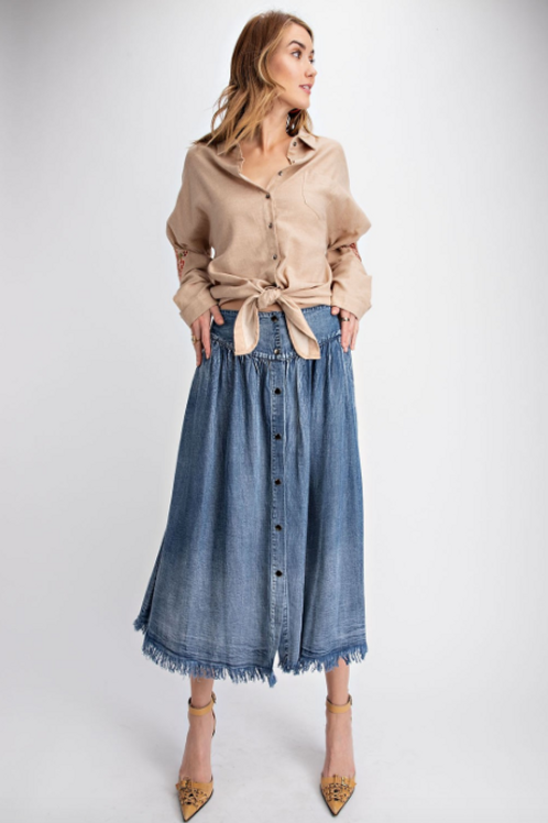 Button Front Chambray Midi Skirt