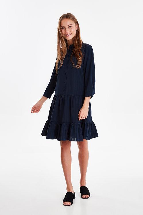 Midnight Stripe Popover Dress