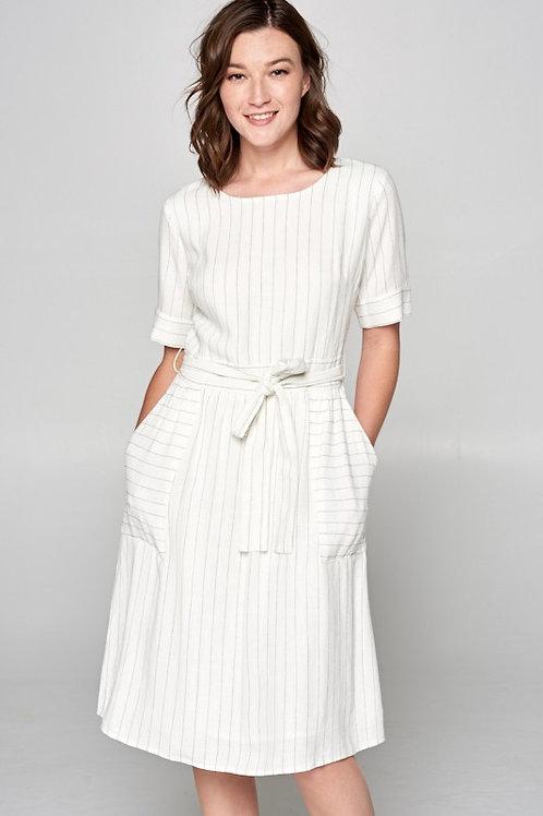 Half Sleeve Pinstripe Dress