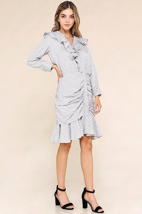 Ruffled Stripe Mermaid Dress