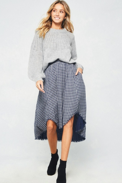 Fringed Gingham Skirt