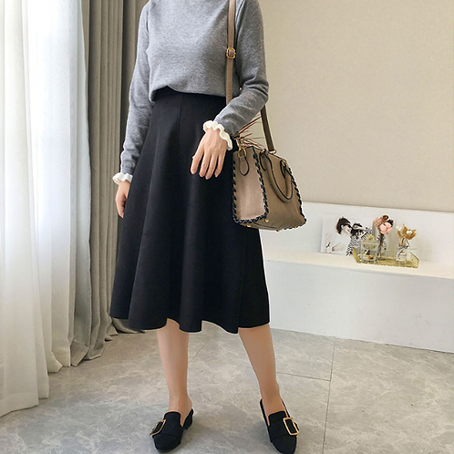 Suede Flirty Skirt [BLACK]