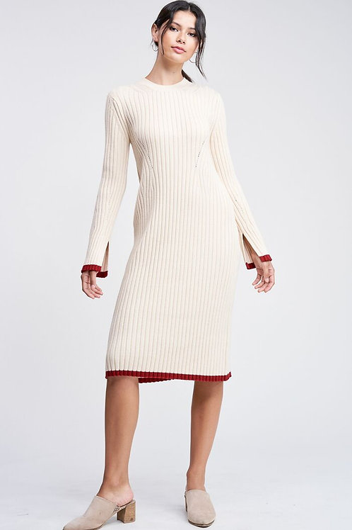 Tipped Midi Sweater Dress
