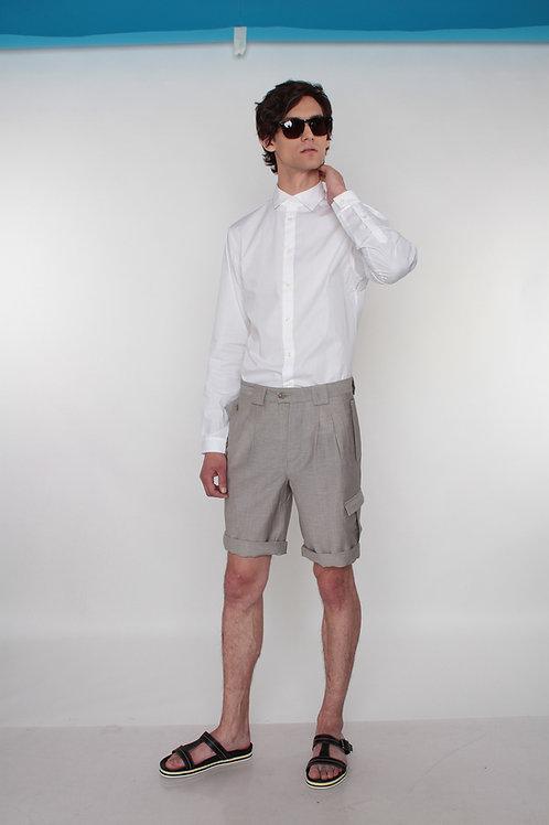 шорты мужские льняные светло-серые