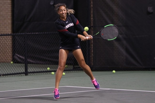 Mia Horvit hits the ball at the Tennis Center in Columbia, SC.
