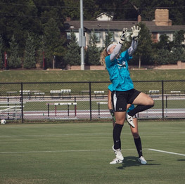 Former Gamecock goalkeeper, Mikayla Krzeczowski, goes up for a save during practice in Columbia, SC.