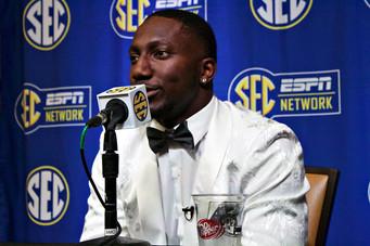 Former Gamecock Deebo Samuel talks to the media during the 2019 Football Media Days.