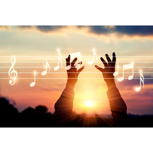 Music notes and sunset