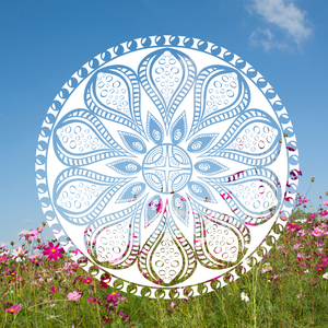 Mandala superimposed over meadow. link to Youtube - Relaxing Music for Stress Relief. Soothing Music for Meditation, Healing Therapy, Sleep, Spa