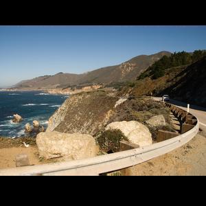 California coastal highway view of Pacific Ocean.