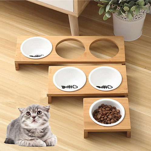 Fashion Cat or Dog Bamboo Food and Water Bowl