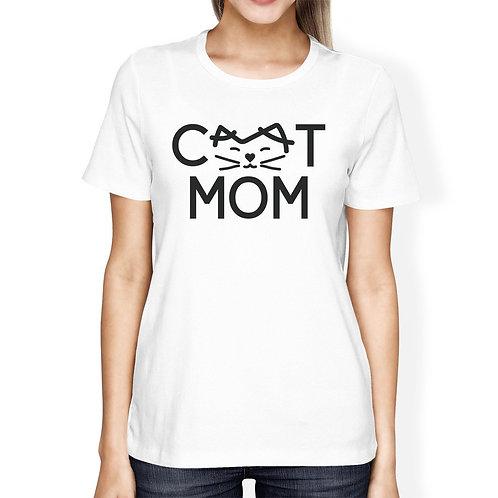 Cat Mom Women's White  T-Shirt
