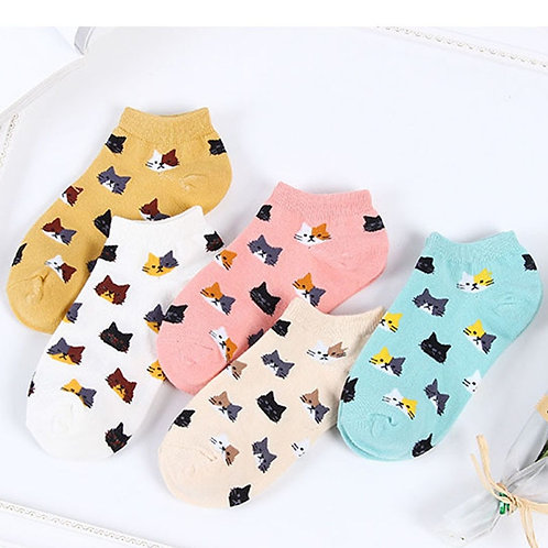 5 Pairs Women Cotton Ankle Socks