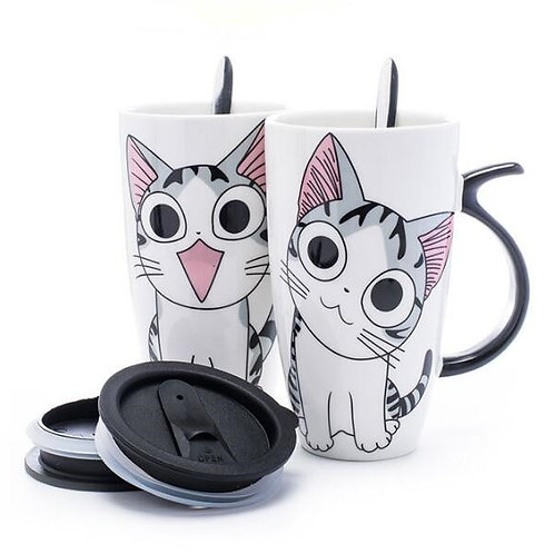 20oz Creative Cat Ceramic Mug With Lid and Spoon