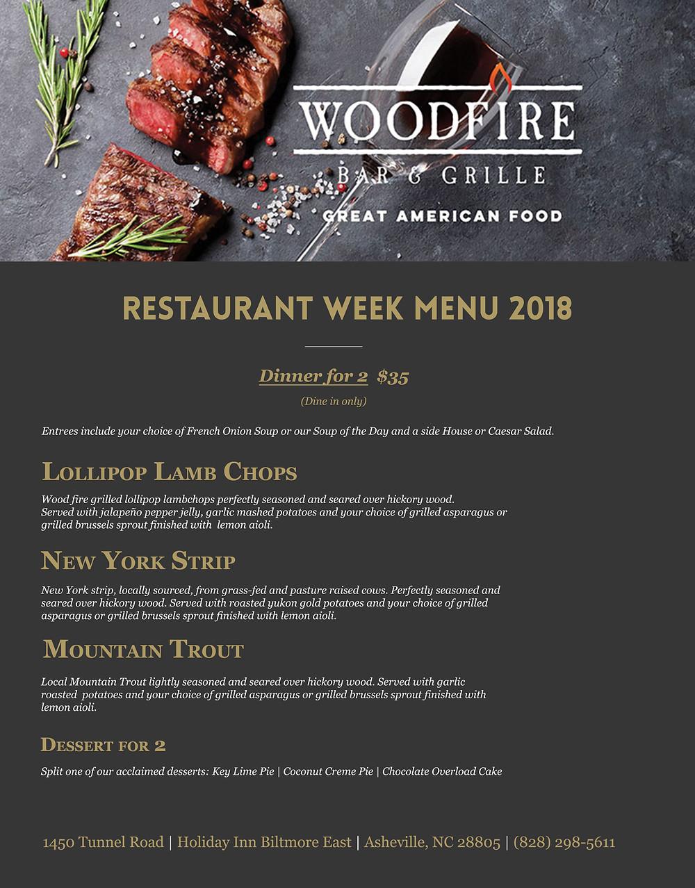 Woodfire Bar & Grille Menu for Restaurant Week 2018