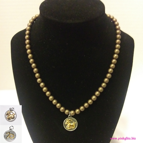 Coffee Brown Pearl Shell Necklace and Charm