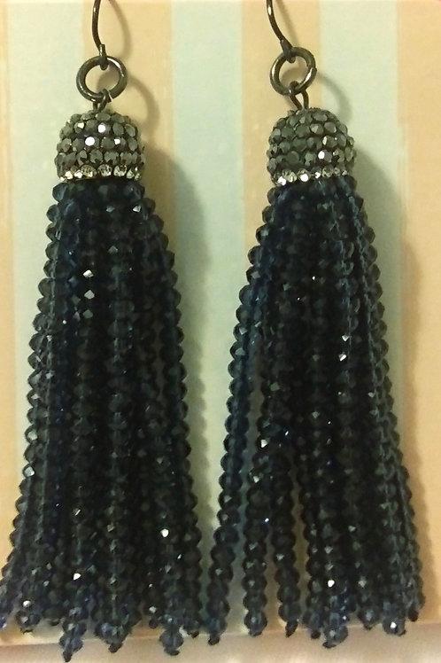 Navy & Silver Tassle Earrings