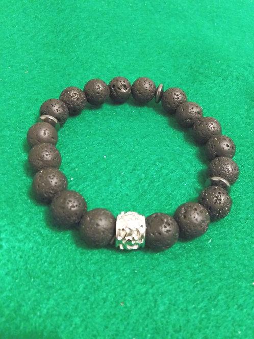 Jewelry for Men, Lava Stone & Hematite, Bracelet, Lava Stone
