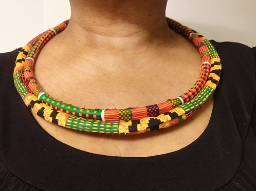 Fabric wrapped necklace, African necklaces, African Fabric Wrapped Necklaces
