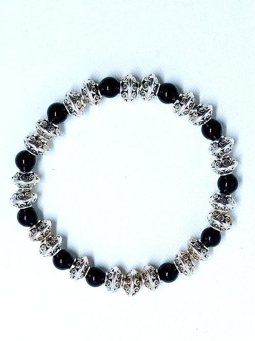 Jewelry, Onyx, Silver Plated, Stretch Cord, Bracelet, Jewelry for Women, Jewelry for Men