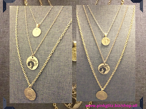 chain necklaces,  layered chain necklaces, gold plated necklaces, gold plated pendants, gender neutral, online jewelry