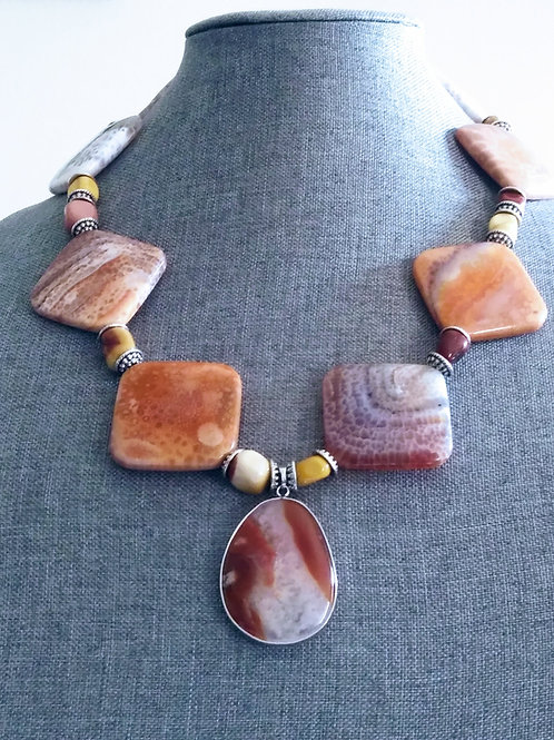 Fire Crab Agate & Yellow Jasper Necklace