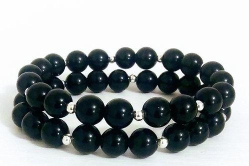 Black Obsidian Stack Bracelet, Black Obsidian, Sliver Plated, women's jewelry, men's jewelry, gender neutral, gemstones