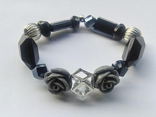 Gray Roses Stretch Bracelet