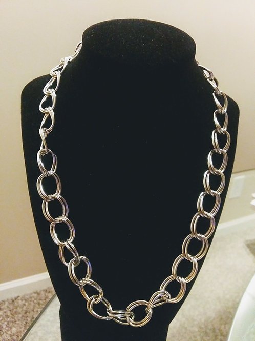 Sliver, chunky necklace, double chain necklace, jewelry, unisex jewelry, custommade jewelry