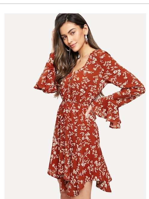 Flounce Sleeve Drawstring Waist Wrap Dress