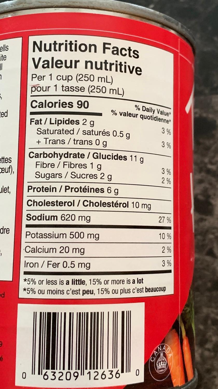 Costco Tim Hortons Chicken Noodle Soup Nutrition