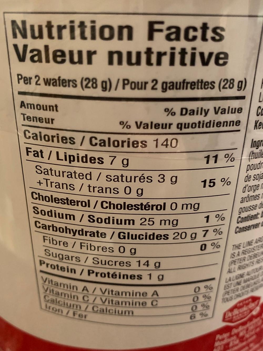 Costco Pirouline Chocolate Hazelnut Wafers Nutrition