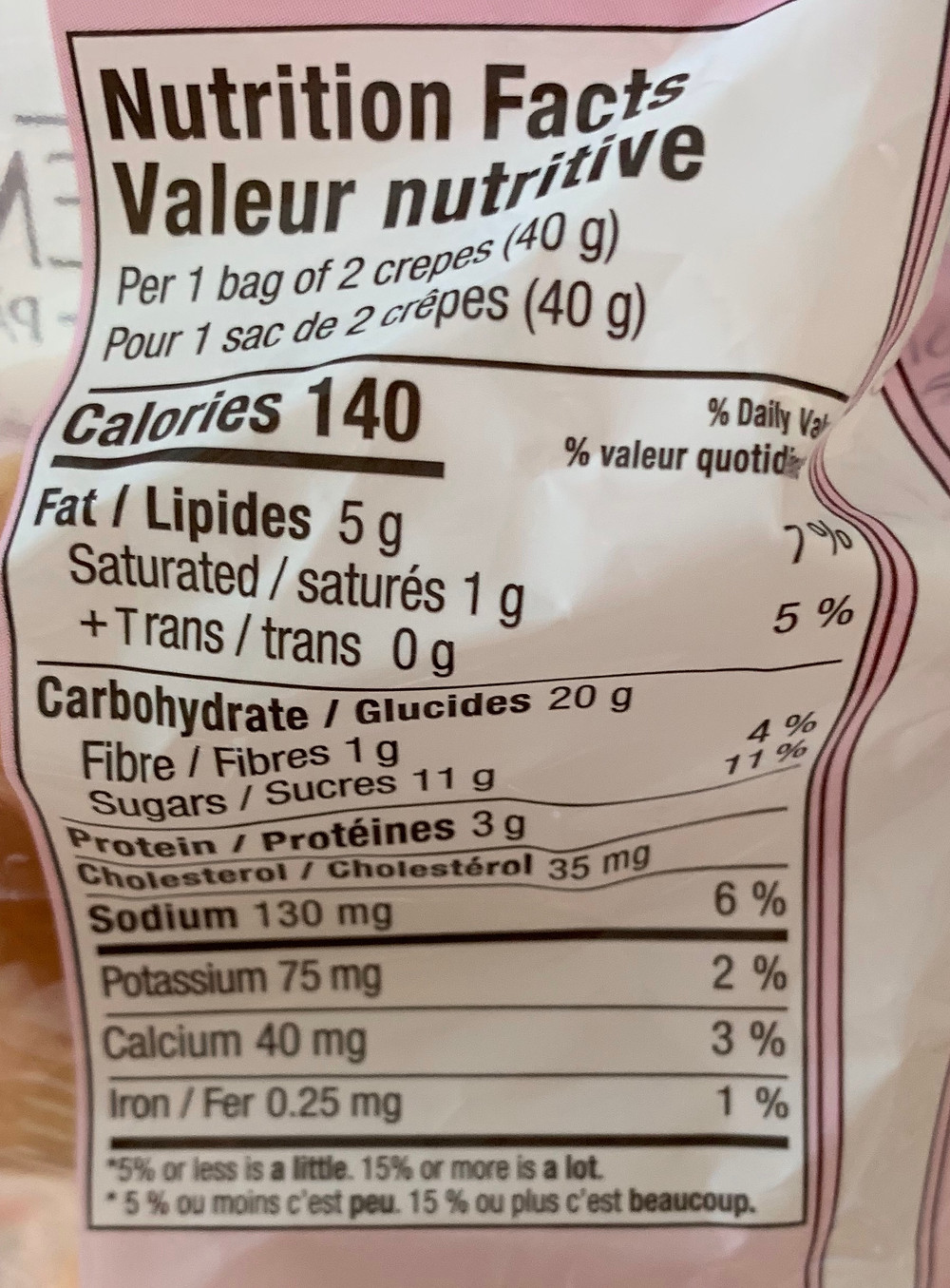 Costco LeMarie Patissier Mini Crepes Nutrition